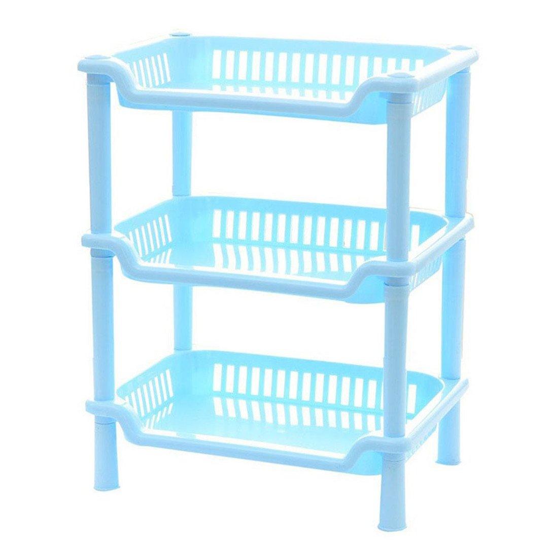 New Plastic 3 Layers Bathroom Kitchen Corner Storage Rack Organizer Shower Shelf ORG Blue