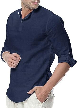 Diseño: EU-Tamaño,Hombre Camisa de Lino Casual Transpirable Top de Manga Larga Camisas Sin Cuello de