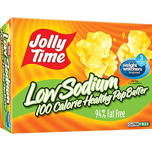 Jolly Time Low Sodium Healthy Pop Butter - 100 Calorie Microwave Popcorn Mini Bags, 4-Count Boxes, 4.8 oz, (Pack of 12) (Low Sodium Popcorn compare prices)