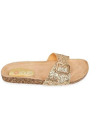 0c8e9752ab80 Wide Fit Women's Glitter Cork Effect Footbed Flat Mule Sandals In True Eee  Fit Size 5EEE