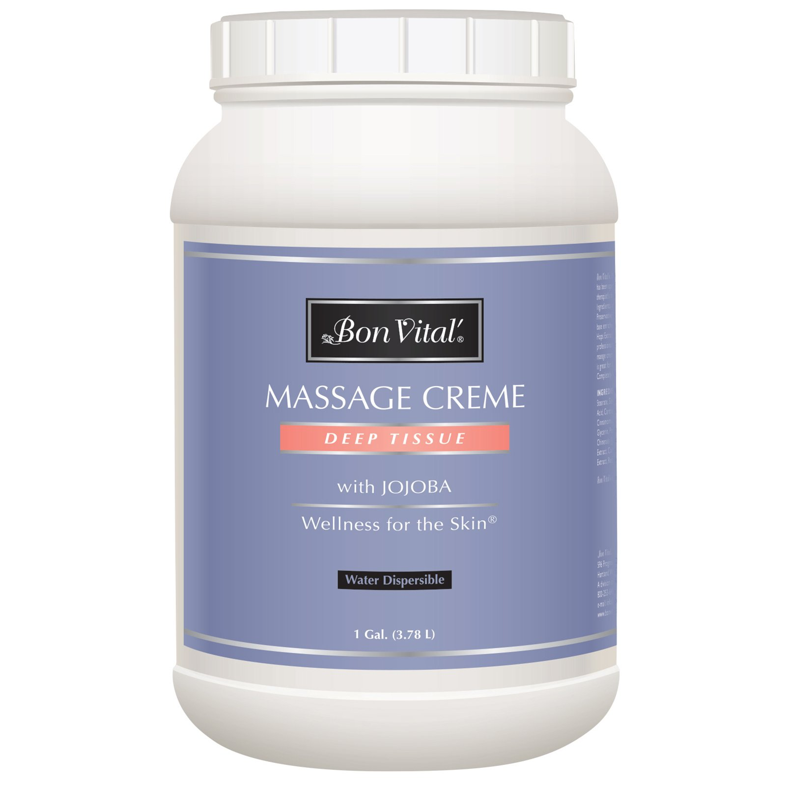 Bon Vital' Deep Tissue Massage Crème, Professional Massage Therapy Cream for Muscle Relaxation, Muscle Soreness, Injury Recovery, Deep Muscle Manipulation, Sports Massages, 1 Gallon Jar