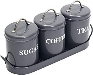 Xbopetda 3 Metal Food Storage Tin, Kitchen Canister Set with Metal Tray, Dry Food Storage Containers for Tea Coffee and Sugar(Gray)