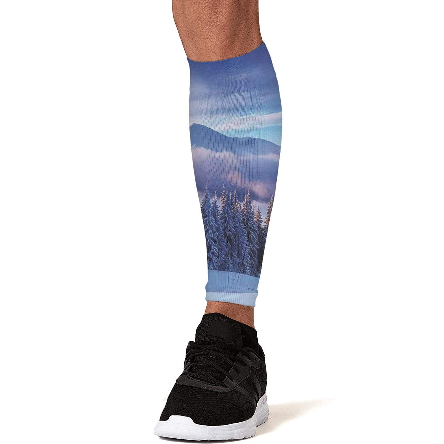 Smilelolly Winter Mountain and Snowy Pine Trees Calf Compression Sleeves Helps Shin Splint Leg Sleeves for Men Women