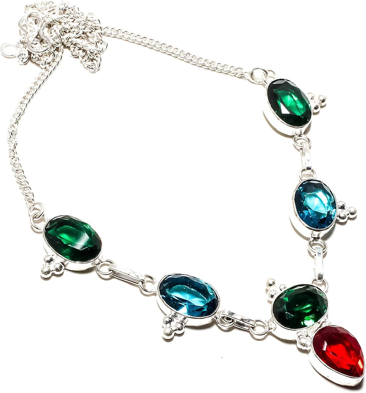 jewels paradise Joyas de paraíso Verde turmalina y Granate Rojo, Collar de Gema de turmalina Azul Hecho a Mano 925 Chapado en Plata de Ley – Cadena de eslabones Ajustable – (SF-1337)