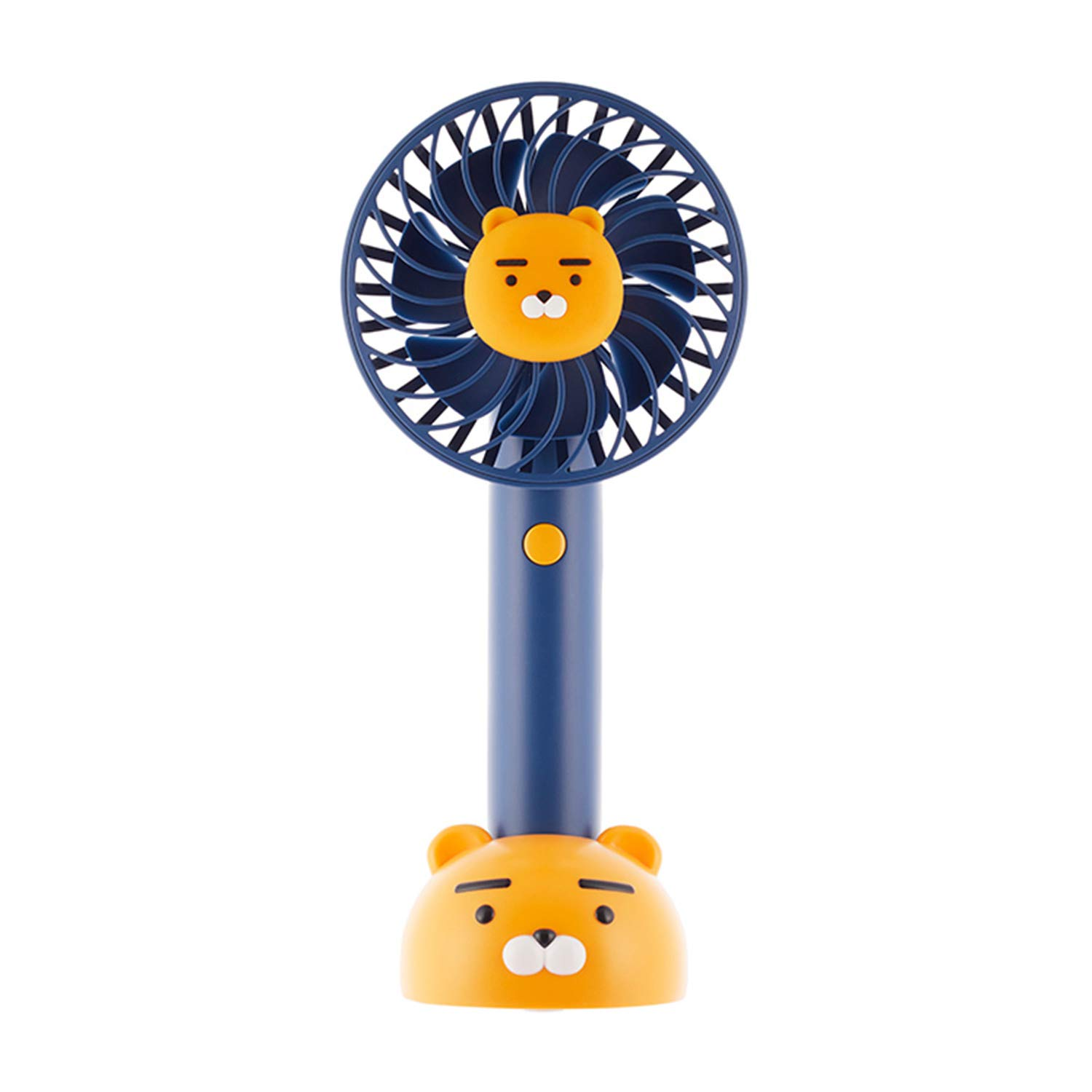 KAKAO FRIENDS Official- Portable Handheld Fan with Detachable Base, Rechargeable USB Charging 2200mAh Battery, Adjustable 3 Speed (Ryan Navy)