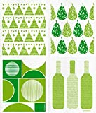 Swedish Dishcloths, Set of 4 Different Designs in GREEN - TeePee + Retro Circles + Pears + Wine (4 GREEN (GH))