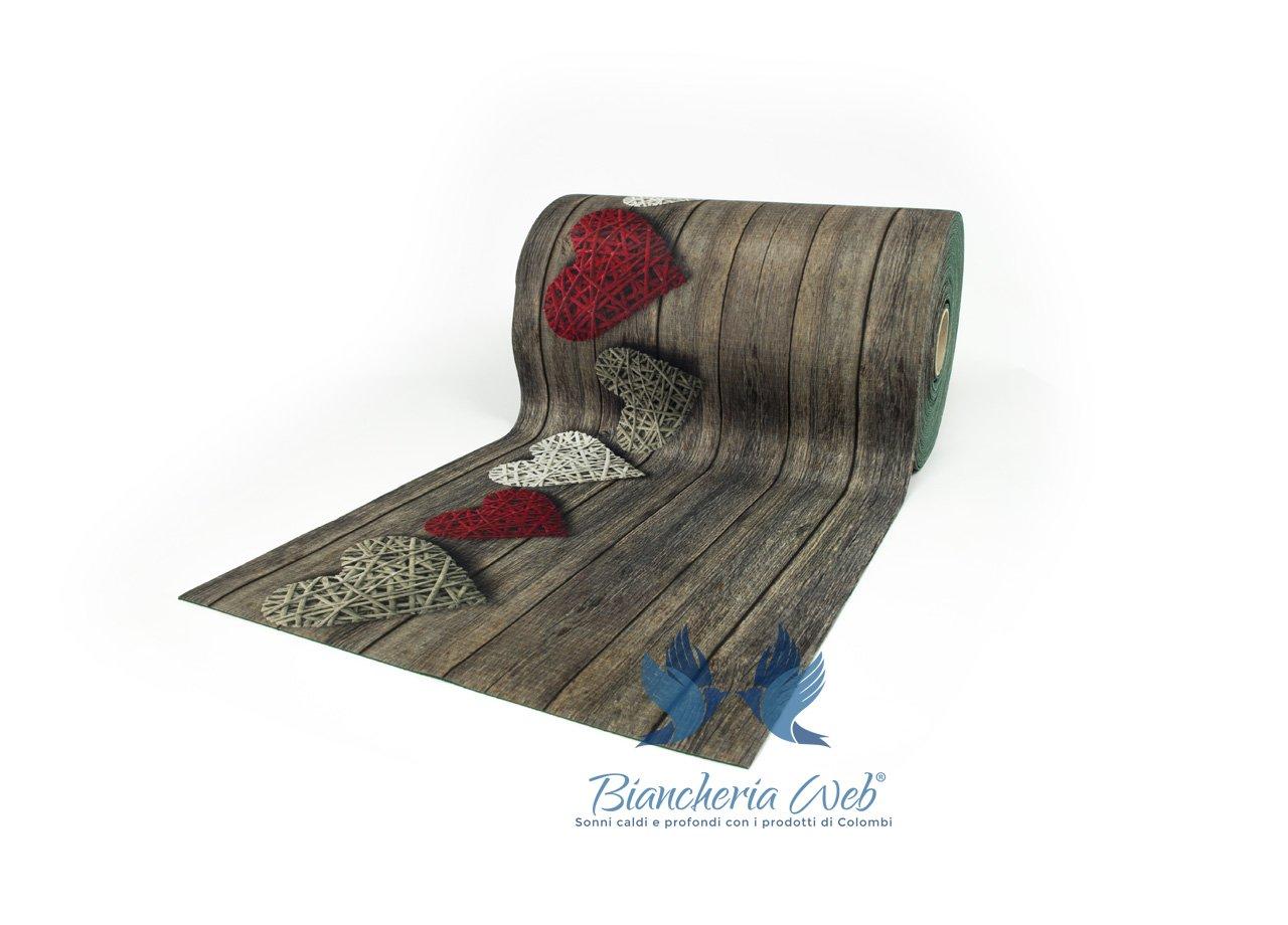 BIANCHERIAWEB Tappeto Passatoia Antiscivolo con Stampa Digitale Disegno Cuori Love 50x90 Love
