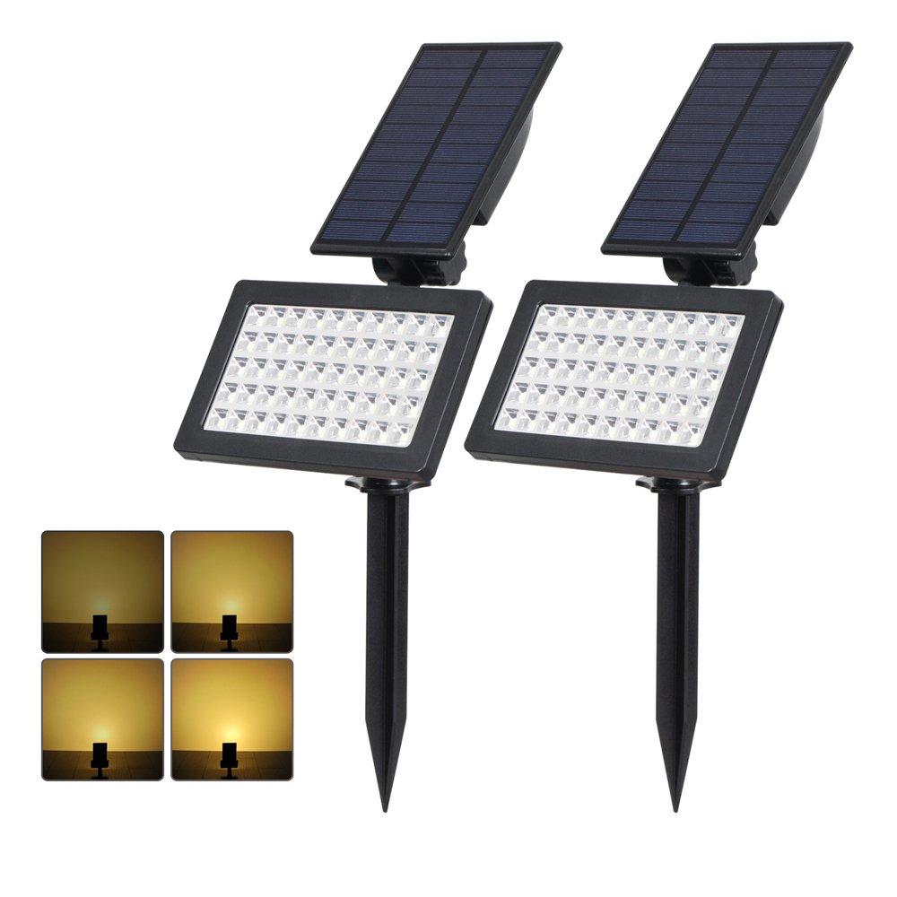(2 Pezzi) T-SUN Luci Solari da Esterno, Wireless Lampada Solare da Giardino con 50 LED, 4 Modalità Funzione, 3000-4000K, IP65 impermeabile Lampada Solare da Sicurezza per Giardino, Sentiero, Prato, Casa, Cortile, ecc. LTD