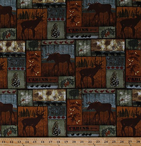 Cotton Northwoods Animals Deer Moose Bears Blocks Mountain Pines Lodge Cabin Nature Wildlife Cotton Fabric Print by the Yard (Wildlife Cabin)