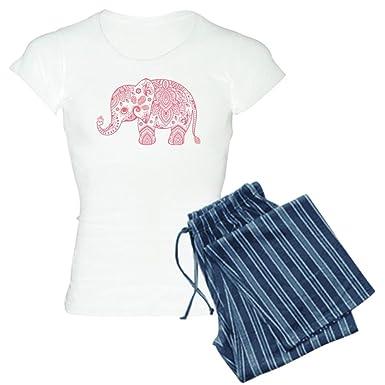 01b988dc5105 CafePress - Pink Elephant Illustration Vintage Paisley - Womens Novelty  Cotton Pajama Set
