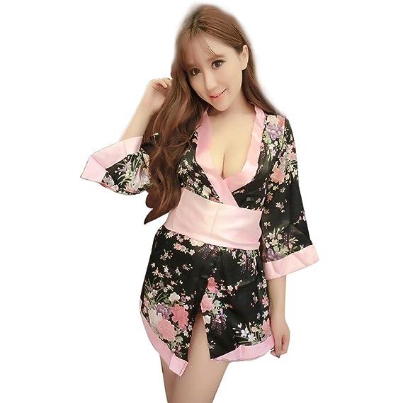 Amlaiworld Medias Mujer, Kimono Ropa Interior Ropa de Dormir Vestido de Noche (Negro)