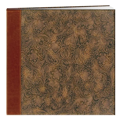 Pioneer 12 Inch by 12 Inch Postbound Embossed Sewn Leatherette Cover Memory Book, - Top Postbound