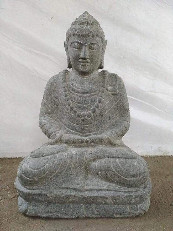wanda collection Escultura jardín Exterior Buda Sentado Piedra volcánica posición de ofrenda 53 cm: Amazon.es: Hogar