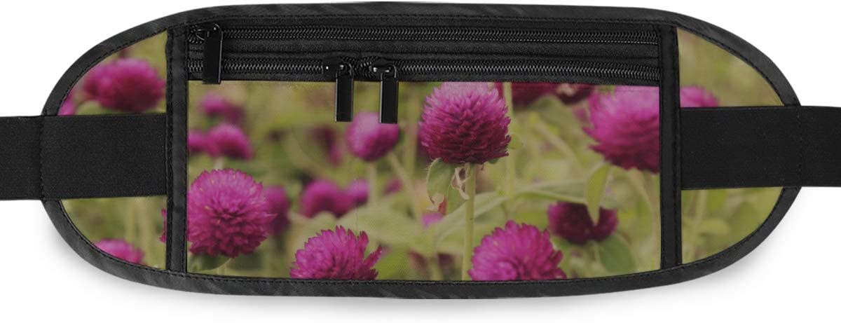 Travel Waist Pack,travel Pocket With Adjustable Belt Globe Amaranth Flower Running Lumbar Pack For Travel Outdoor Sports Walking