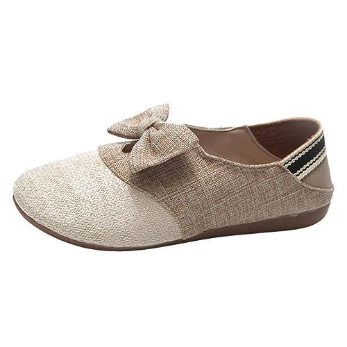 Zapatos de Vestir Chic para Mujer Otoño PAOLIAN Calzado de Tela de Lino Dama Plano con Bowknot Merceditas Fiesta Suela Blanda Moda Cómodos Calzado de ...