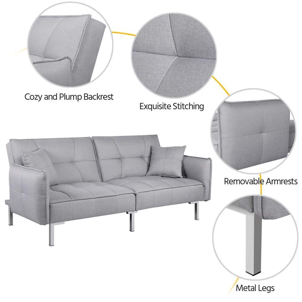 Yaheetech Sofá cama de tela de lujo, 3 plazas, sillón ...