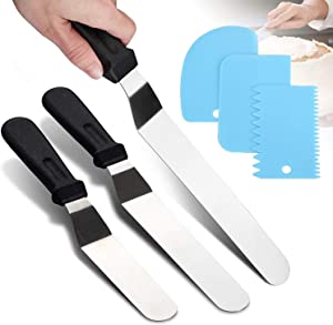 Icing Spatula 3PCS (6,8,10inches), Stainless Steel Cake Knife Icing Smoother with 3 Dough Scraper, Offset Spatula, Frosting Spreader, Cake Frosting Smoother Decorating Tool for Home, Kitchen or Bakery