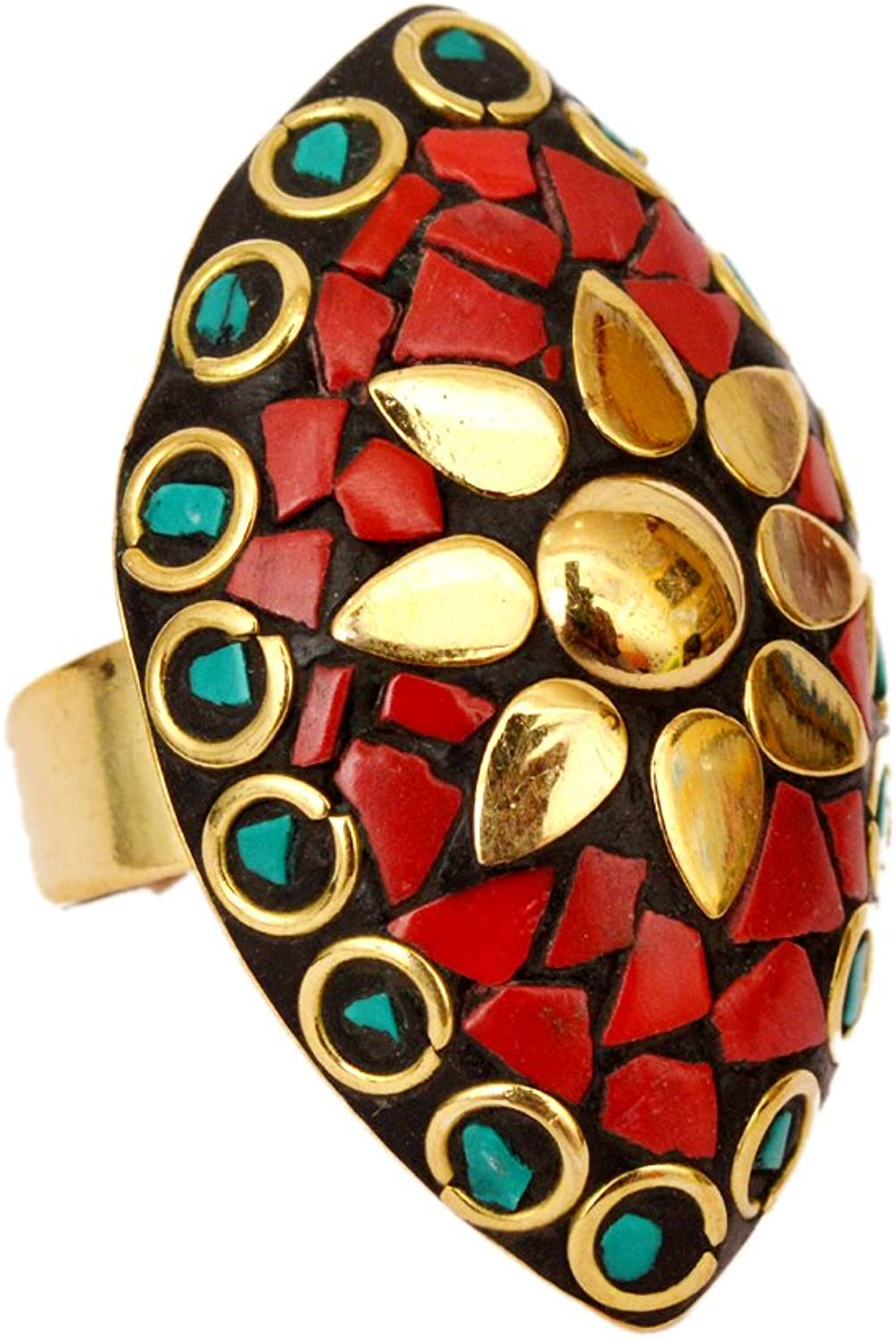 JD/&JD Adjustable Gold Plated Coral Turquoise Ring Jewelry KE1210