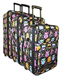 Ever Moda Owl 3-piece Carry on Luggage Set