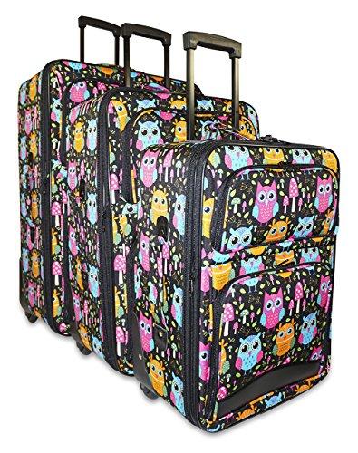 Ever Moda Owl 3-piece Carry on Luggage Set by Ever Moda