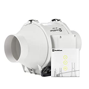 """Hon&Guan 4""""Inline Duct Fan with Smart Dual Speed Controller - Ventilation Exhaust Fan for Heating Cooling Booster, Grow Tents, Hydroponics(116 CFM)"""