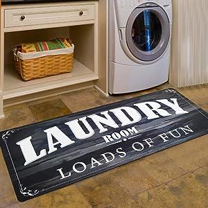 USTIDE Laundry Room Decor Loads of Fun Rug Floor Mat for Washroom Mudroom Non Skid Rubber Waterproof Kitchen Mat, 20x48