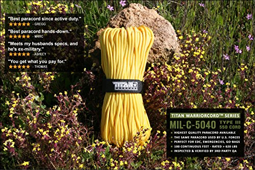 TITAN WarriorCord | YELLOW | 103 CONTINUOUS FEET | Exceeds Authentic MIL-C-5040, Type III 550 Paracord Standards. 7 Strand, 5/32'' (4mm) Diameter, Military Parachute Cord. by Titan Paracord (Image #3)