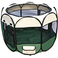 Bloodyrippa Portable Foldable Pet Playpen with Carry Case, Water Resistant 600d Oxford Cloth, Top Zippered Mesh Cover…