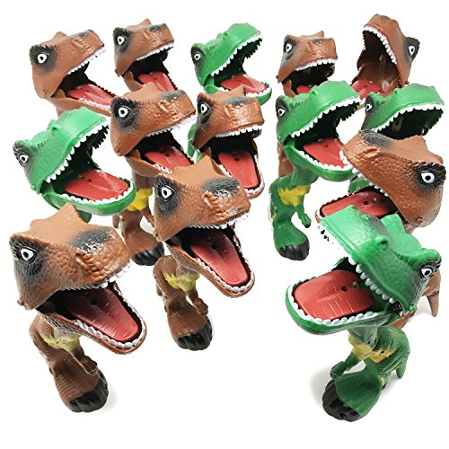 BOLEY 12pc Dinosaur Grabber Toy - Light and Sound T- Rex Dinosaur Toys for Gift Pack, Costume Parties, Birthdays and (Animal Planet Halloween Special)