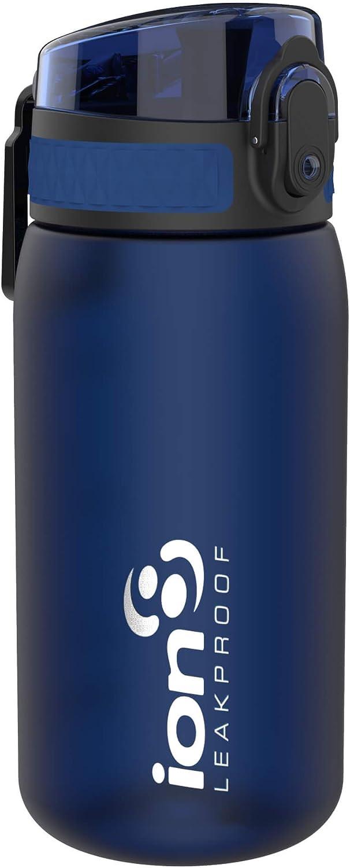 ion8 Leak Proof BPA Free, Botella de agua, sin BPS, a pueba de fugas, Azul (Frosted Navy), 350 ml