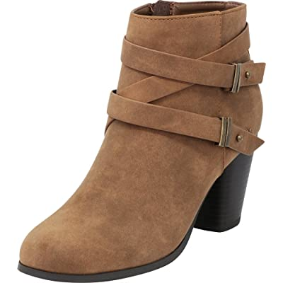 Cambridge Select Women's Crisscross Strappy Chunky Stacked Block Heel Ankle Bootie | Shoes