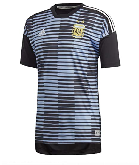 c0cff37aebd Amazon.com : adidas 2018-2019 Argentina Pre-Match Shirt (Blue ...