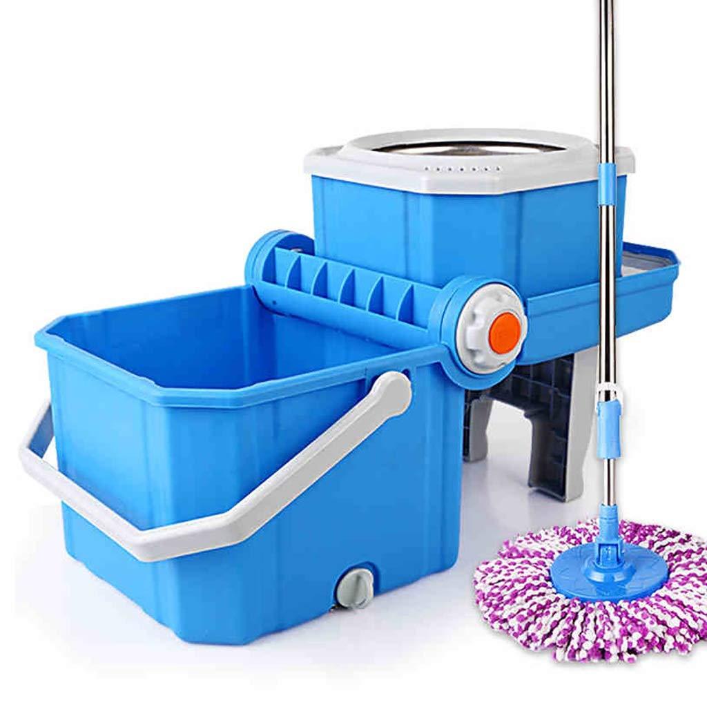 フロアモップワイパー 回転モップ、360°回転モップヘッド、ハンドフリー洗濯、洗濯と乾燥、(マイクロファイバー) B07L5ZHWLY