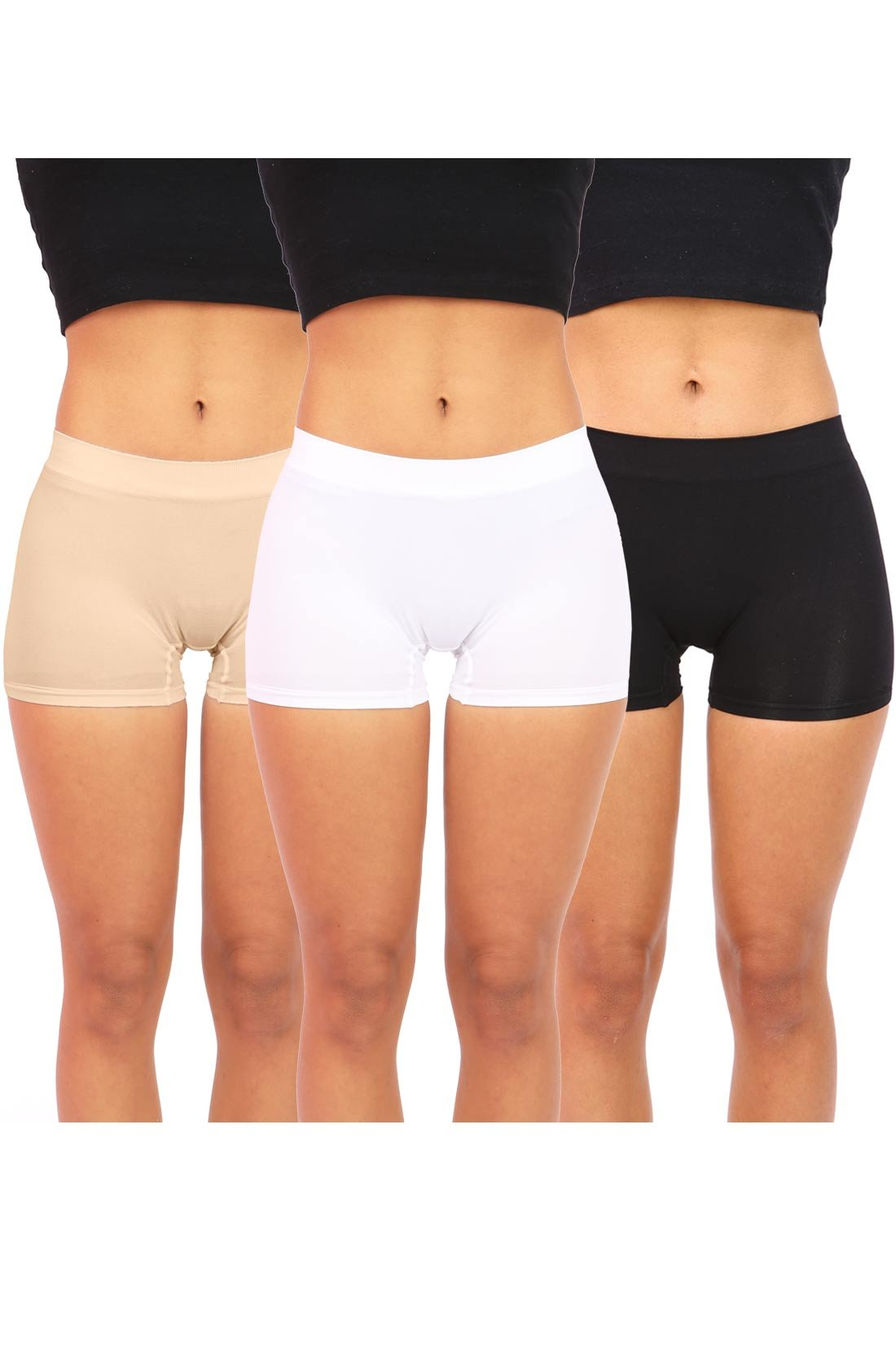 Anemone Bundle Pack 3 Items Women's Juniors Spandex Boy Shorts (o/s, Black, White & Nude)