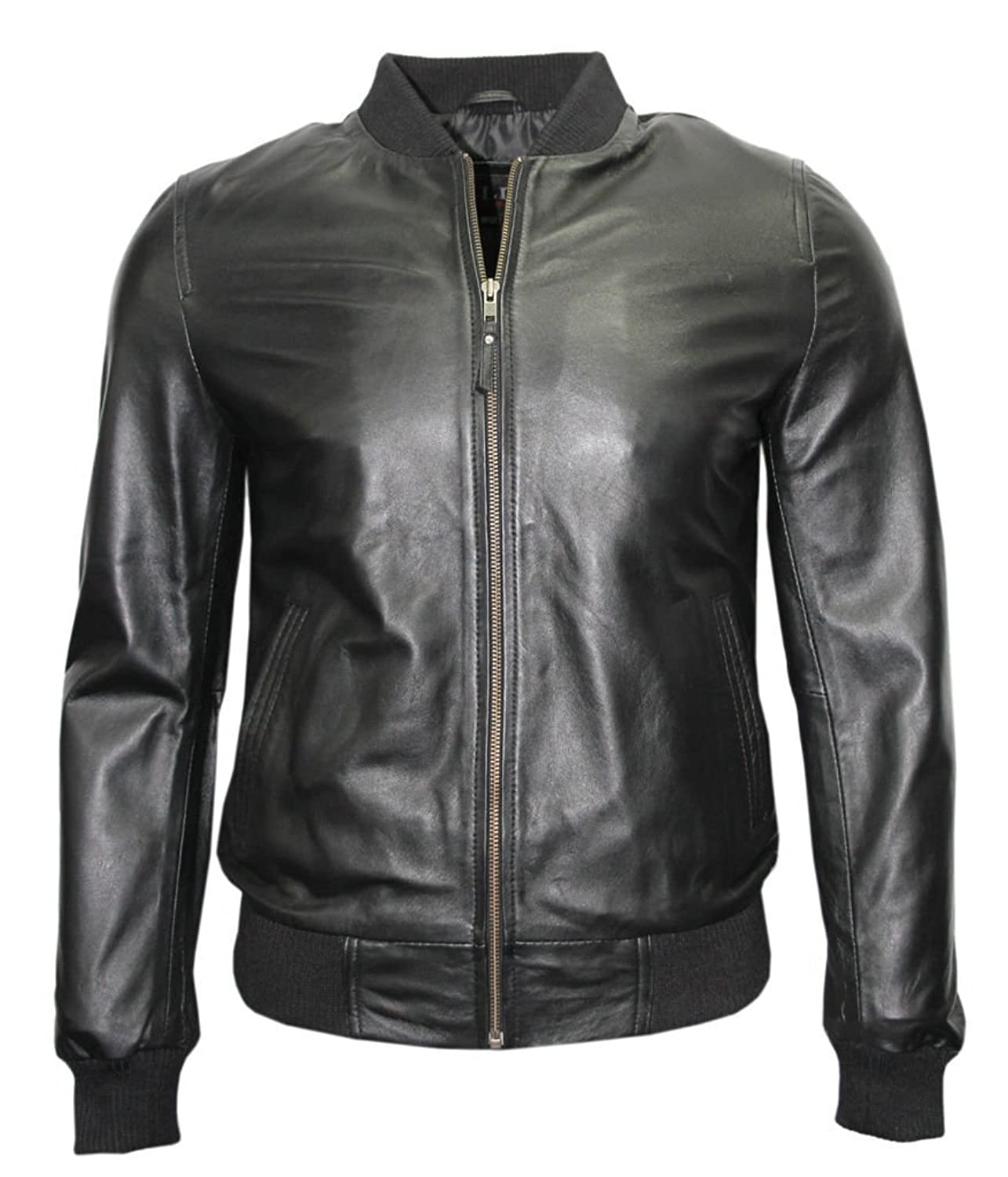Mens Retro Black Nappa Leather Bomber Slim Fit Casual Varsity Jacket