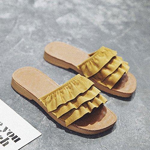 LIUXUEPIN Las Nuevas Sandalias De Moda Femenina De Verano Y Zapatillas De Desgaste Exterior Zapatos De Playa Retro Zapatillas De Playa De Fondo Plano Marino Amarillo