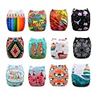 Alva Baby Positioning and Printed Reuseable Washable Pocket Cloth Diapers Nappies 12 PCS + 24 Inserts 12ZC8