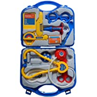 AI Doctor Plastic Playset Kit with Fold able Suitcase, Compact Medical Accessories Toy Set Pretend Play Kids
