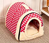 Winter Warm FOLDABLE Non-Slip Outdoor Pet Kennel Cozy Dog House Cat Sofa Puppy Bed (M (45x35x32cm), Pink Dot)
