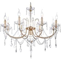 Miluolan Crystal Chandeliers Light Hanging Ceiling Fixture with Adjustable Height and Hand-Polished Crystal Beads