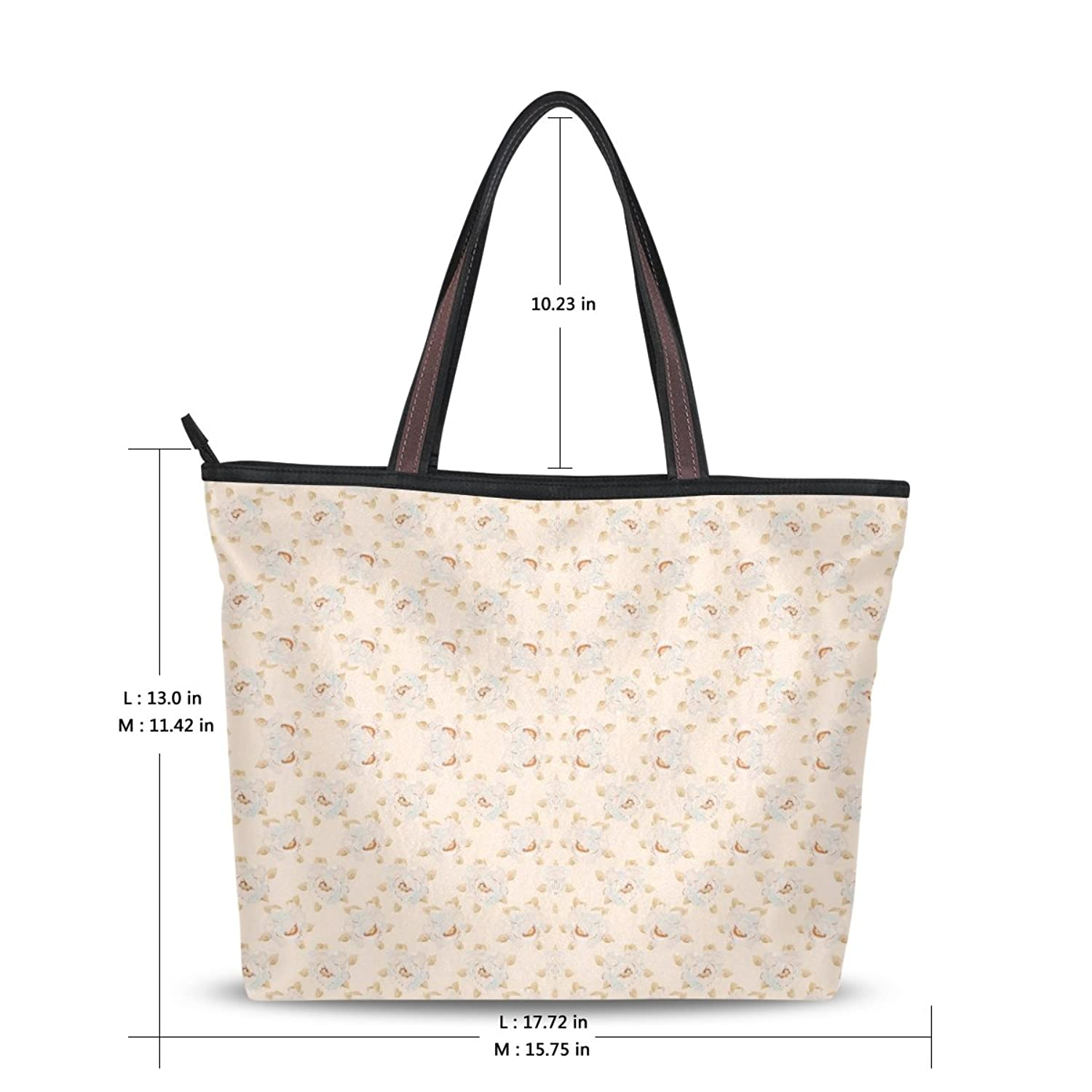 LEEZONE Fashion Shoulder Handbags with Elegant Flower Pattern Printing Tote Bags