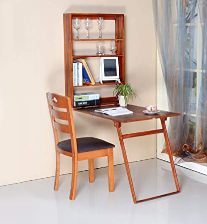 Gls Wall Mounted Floating Fold Up Convertible Writing Desk With Storage Murphy Fold Out Table Teak