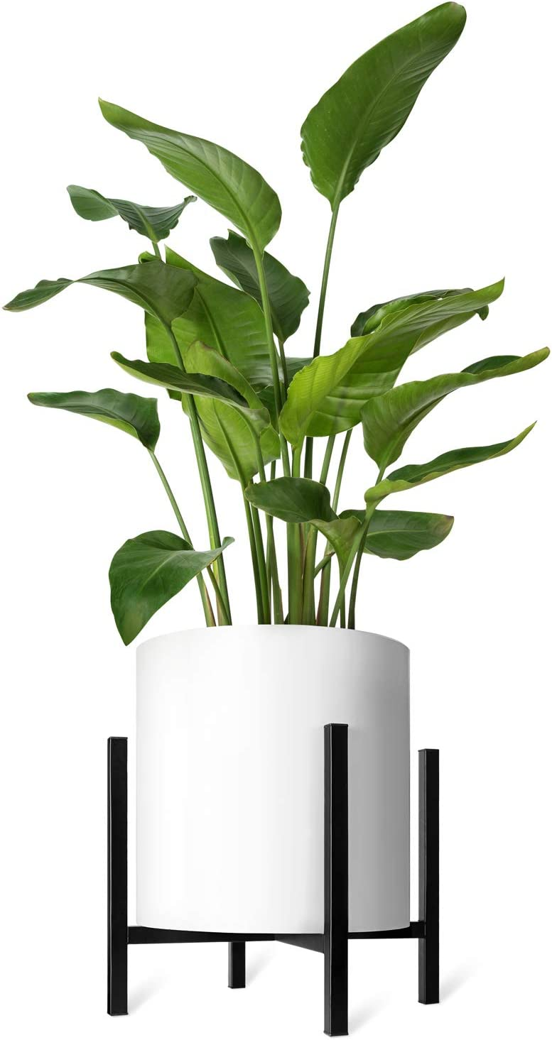 Mkono Plant Stand Mid Century Modern Tall Flower Pot Stands Indoor (Plant Pot Not Included) Outdoor Metal Potted Plant Holder, Plants Display Rack Fits Up to 14 Inch Planter