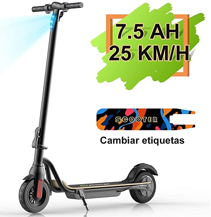 M MEGAWHEELS El Scooter eléctrico S10, batería de Gran Capacidad de 7500 mAH, Velocidad de hasta 25 km/h, neumáticos de 8.0