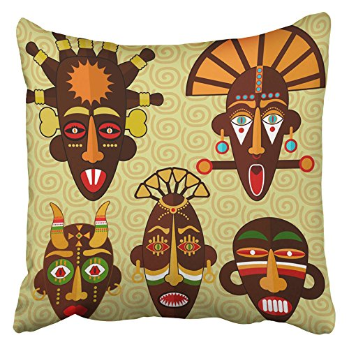 Emvency Decorative Throw Pillow Covers Cases Brown Lulua African Masks Tiki Voodoo Aborigine Abstract Adult Africa Ancient 16x16 inches Pillowcases Case Cover Cushion Two Sided -