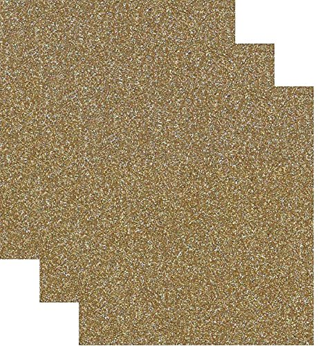 - Siser Glitter Heat Transfer Vinyl HTV for T-Shirts 10 by 12 Inches (1 Foot) 3 Precut Sheets (Old Gold)