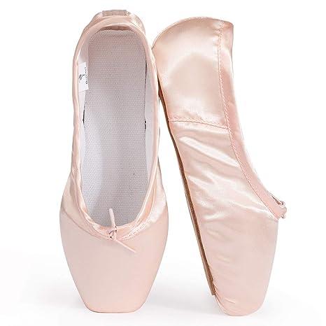 Women Grils Ballet Dance Shoes Pointe Gymnastics Sequins Leather Soft Sole Shoes