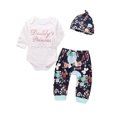 d1fe8914b PLOT 3Pcs Newborn Baby Boys Girls Romper Bodysuit+Floral Pants+Hat ...