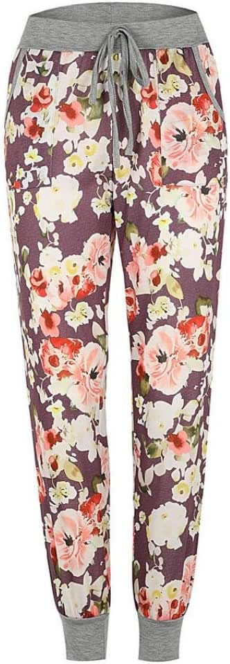 iTLOTL Womens Mid Waist Floral Print Trousers Ladies