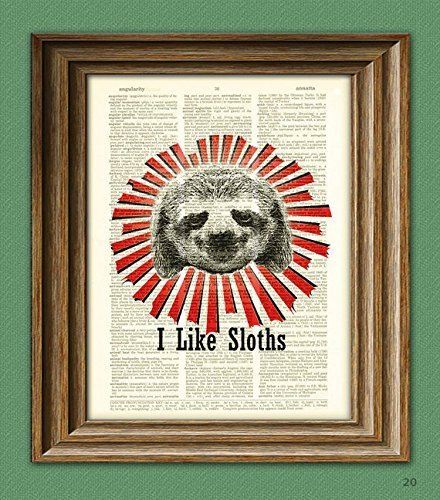 I-Like-Sloths-Print-over-an-upcycled-vintage-dictionary-page-book-Woodland-art-print